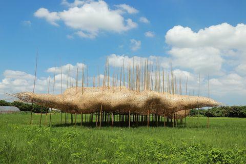 藍天綠地上有竹製的藝術品