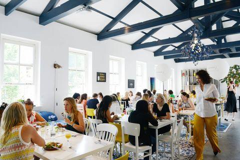 Yellow, Event, Interior design, Brunch, Community, Lunch, Restaurant, Design, Table, Room,