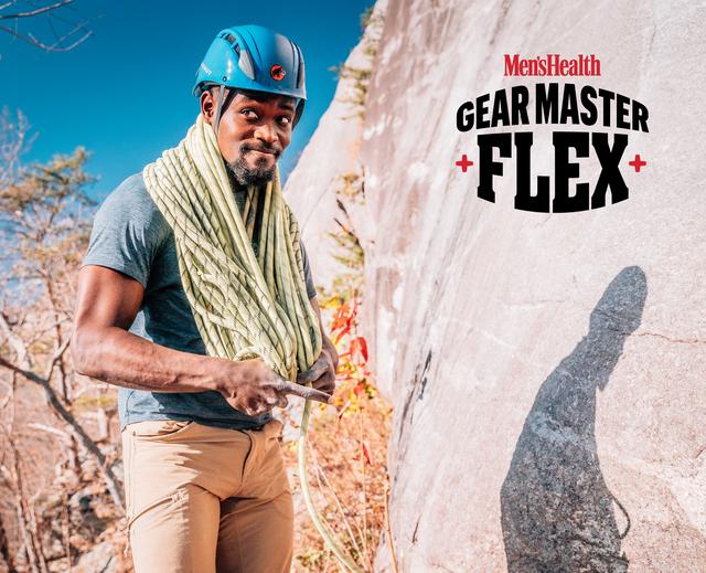 man in rock climbing gear