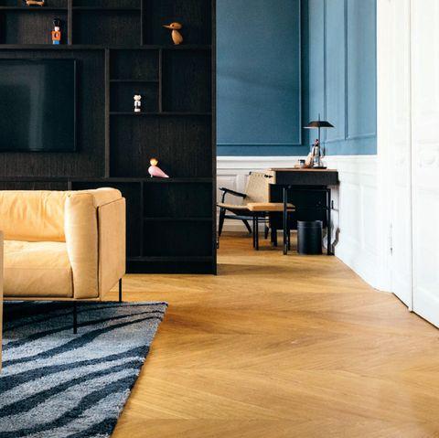 Floor, Furniture, Living room, Room, Flooring, Wood flooring, Interior design, Laminate flooring, Property, Tile,
