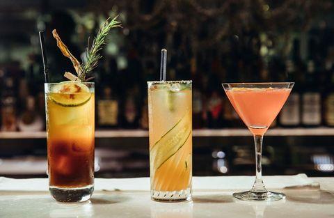 Alcoholic beverage, Drink, Classic cocktail, Distilled beverage, Cocktail, Rum swizzle, Juice, Liqueur, Non-alcoholic beverage, Sour,