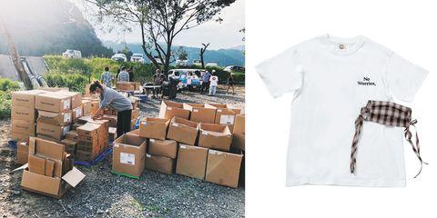 熊本県球磨村で物資を支援する紗栄子さんと、一般社団法人think the dayで販売したチャリティtシャツと布マスク