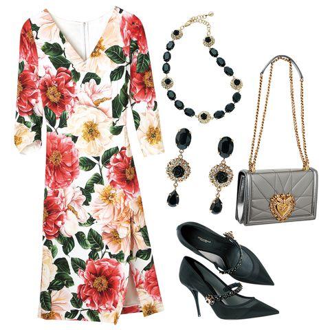 ドルチェ&ガッバーナのワンピースとバッグと靴とネックレスとイヤリング