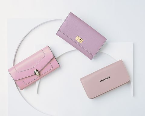 フェンディとバレンシアガとブルガリのピンクの財布