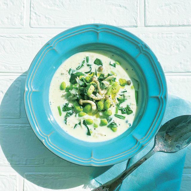 ほうれん草と枝豆の豆乳スープ