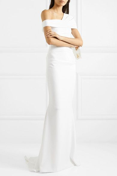 Fishtail wedding dresses - Talbot Runhof Bonette one-shoulder ruched stretch-crepe gown