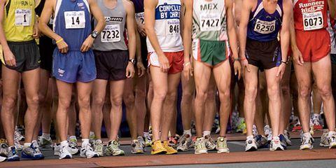Headless Runners Waiting at Starting Line