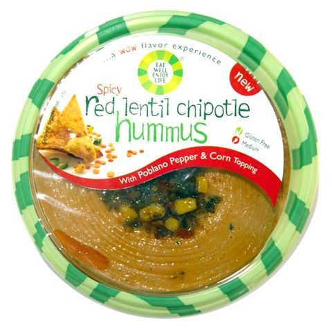 Eat Well Enjoy Life Spicy Red Lentil Chipotle Hummus with Poblano Pepper & Corn Topping