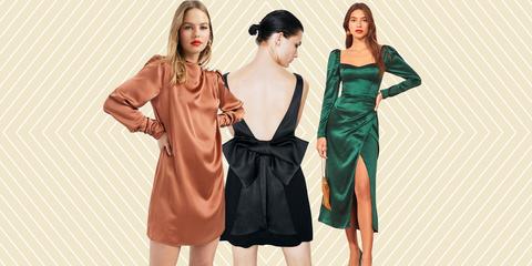 Clothing, Dress, Fashion model, Satin, Fashion, Cocktail dress, Shoulder, Formal wear, Fashion design, Sleeve,