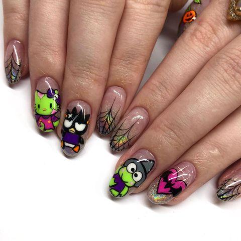 halloween nail ideas  hello zombie kitty