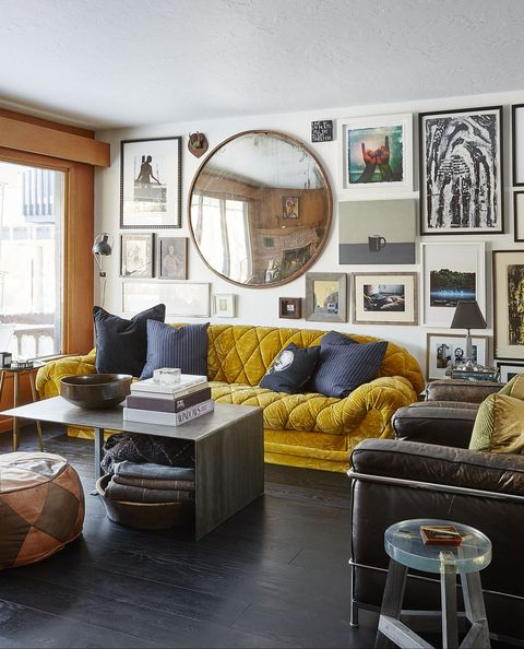 Living room, Room, Furniture, Interior design, Coffee table, Floor, Table, Property, Yellow, Wall,