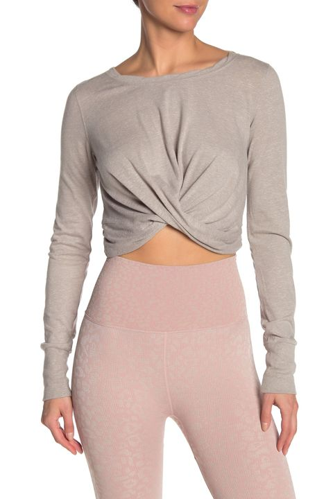 Clothing, Sleeve, Shoulder, Neck, Crop top, Top, Joint, Beige, Outerwear, Shirt,