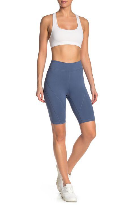 Clothing, Cycling shorts, Sportswear, Blue, Waist, Cobalt blue, Undergarment, Standing, Electric blue, Shorts,
