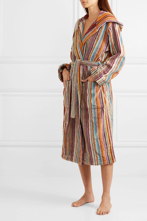 missoni jazz hooded striped cotton terry robe
