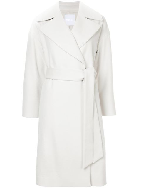 Clothing, White, Coat, Trench coat, Outerwear, Robe, Overcoat, Sleeve, Collar, White coat,