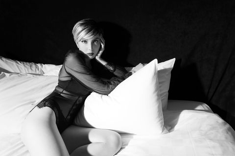 White, Black, Black-and-white, Bedding, Pillow, Bed sheet, Leg, Monochrome photography, Arm, Bed,
