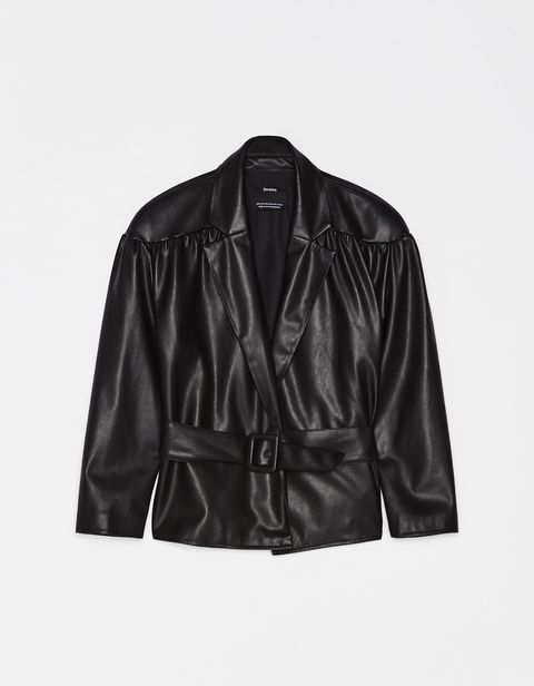 Clothing, Jacket, Outerwear, Leather, Leather jacket, Sleeve, Textile, Top, Blazer, Collar,