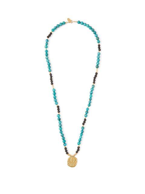 Elise Tsikis, Lerissos turquoise-beaded charm necklace