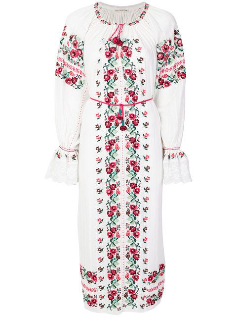 Clothing, White, Sleeve, Day dress, Dress, Outerwear, Robe, Neck, Top, Embroidery,