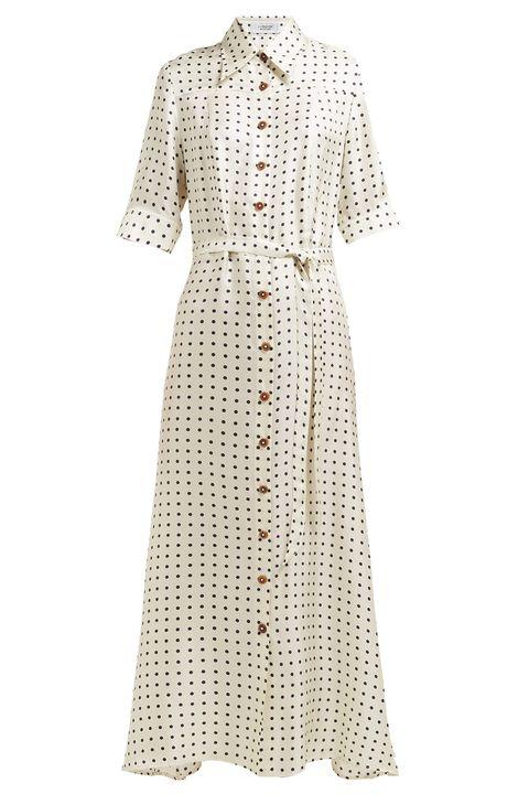 Polka dot-print silk-satin dressLA PRESTIC OUISTON