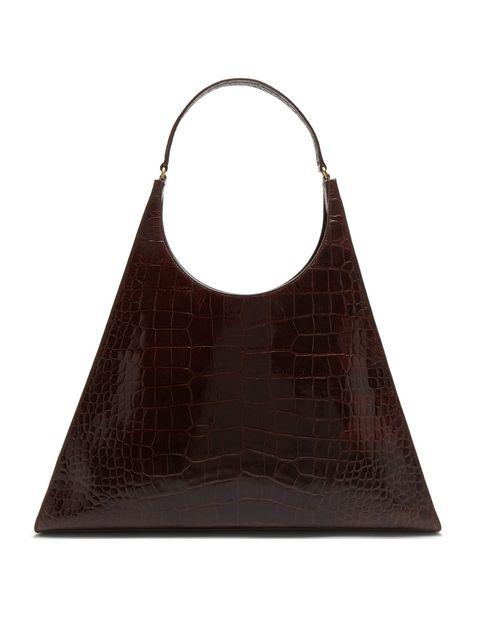 Bag, Handbag, Hobo bag, Brown, Fashion accessory, Leather, Shoulder bag, Tote bag, Triangle, Luggage and bags,