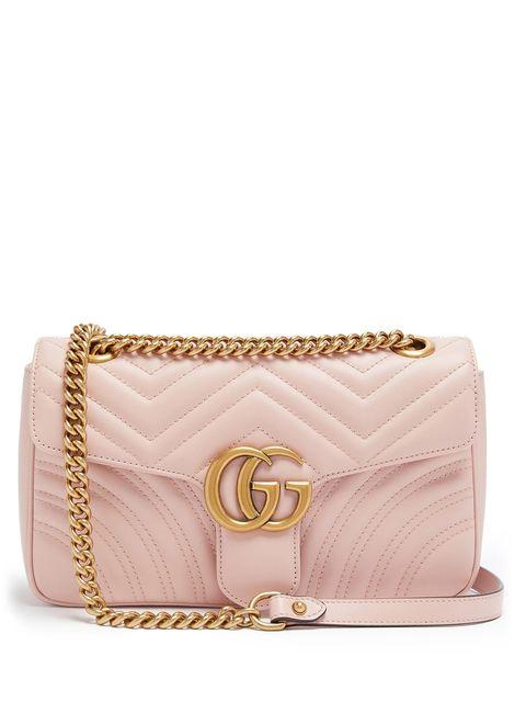 Handbag, Bag, Fashion accessory, Pink, Beige, Brown, Leather, Shoulder bag, Coin purse, Chain,