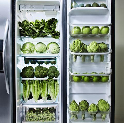 Refrigerator, Major appliance, Vegetable, Leaf vegetable, Brussels sprout, Cruciferous vegetables, Green, Kitchen appliance, Food, Plant,