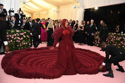 Dress, Red, Fashion, Pink, Gown, Event, Red carpet, Carpet, Ceremony, Flooring,
