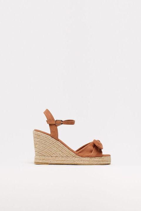 Footwear, Shoe, Slingback, Tan, Beige, Sandal, Wedge, Espadrille, Leather,