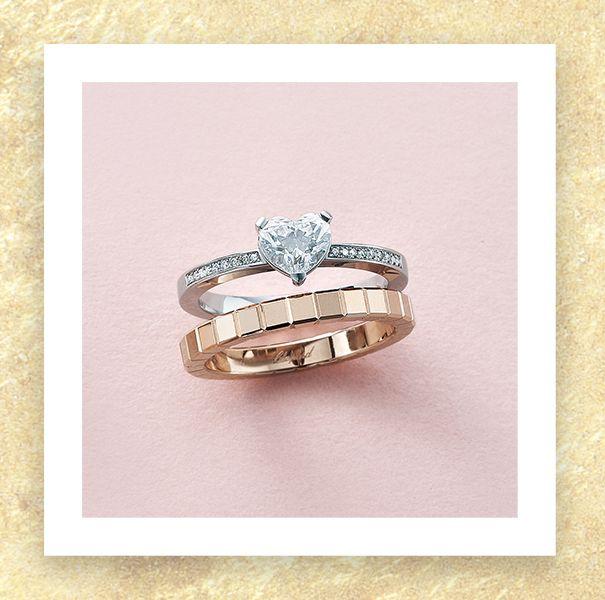 ショパールの婚約指輪と結婚指輪の重ね付けリング2パターンの組み合わせ画像