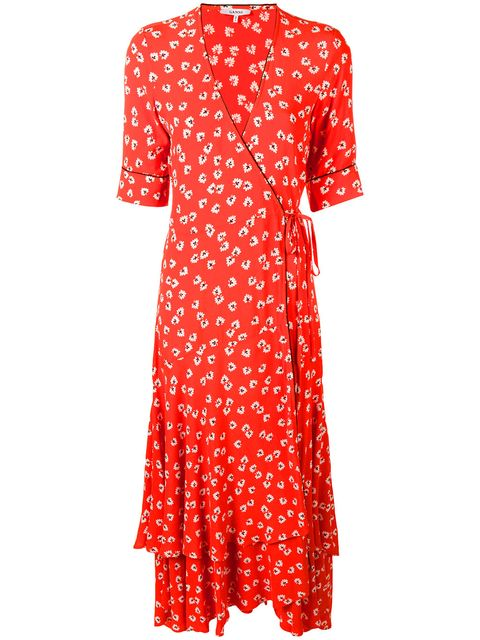 Clothing, Red, Day dress, Dress, Pattern, Polka dot, Orange, Sleeve, Pink, Design,