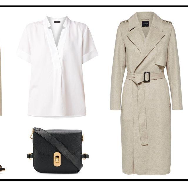 Clothing, Coat, Trench coat, Overcoat, Outerwear, Fashion, Beige, Footwear, Blazer, Suit,