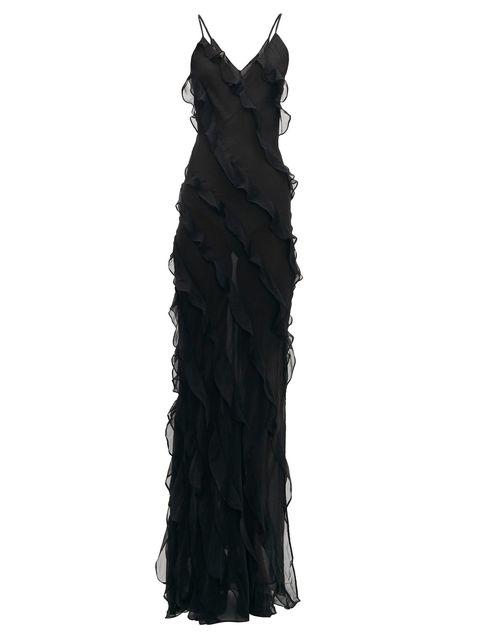 Clothing, Black, Dress, Ruffle, Cocktail dress, Day dress, Gown, Little black dress,