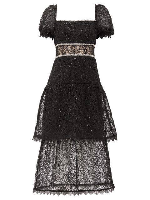 Dress, Clothing, Day dress, Black, Cocktail dress, Sleeve, Gown, Lace, Pattern, Pattern,