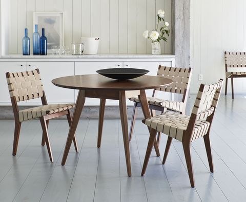 danish designer jens risom's side chair and dining table for knoll
