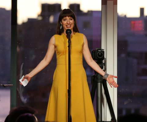 new york, new york   june 22 ophira eisenberg speaks onstage at bring on the light the 2021 moth ball honoring regina king and kemp powers at spring studios on june 22, 2021 in new york city photo by bennett raglingetty images for the moth