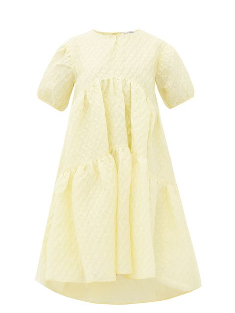 Clothing, White, Dress, Day dress, Sleeve, Yellow, Beige, Outerwear, Neck, Cocktail dress,
