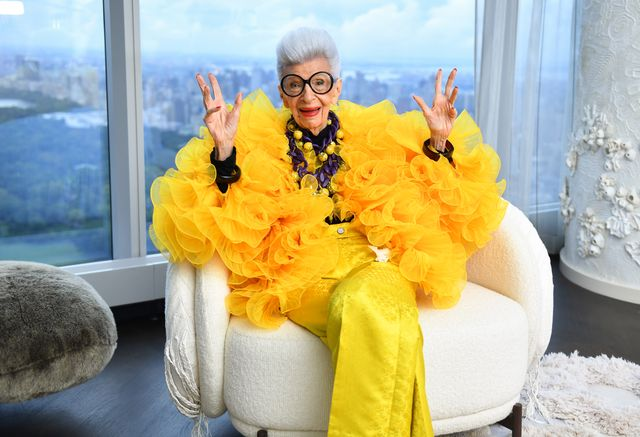 new york, new york   september 09 iris apfel sits for a portrait during her 100th birthday party at central park tower with hm on september 09, 2021 in new york city photo by noam galaigetty images for central park tower