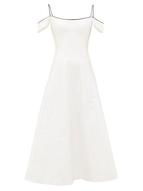 Clothing, Dress, White, Day dress, A-line, Cocktail dress, Gown, Shoulder, Neck, Formal wear,