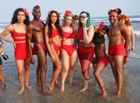 new york, new york   september 12 models pose with designer becca mccharen tran after the chromat x tourmaline springsummer 2022 runway show at new york fashion week on september 12, 2021 in new york city photo by sean zannigetty images for chromat