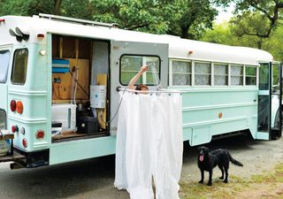 outdoor shower in converted bus