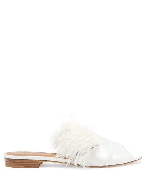 Footwear, White, Shoe, Feather, Slingback, Beige, Fur, Slipper, Leather, Fashion accessory,