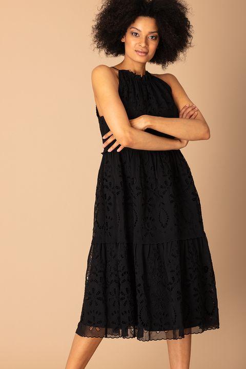 Premium Black Schiffli Lace Tiered Midi Dress