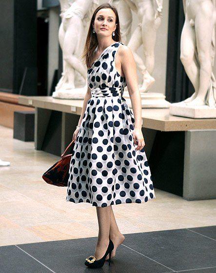 blair waldorf polka dot dress one shoulder museum