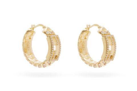 fendi  f logo 水晶金色耳環