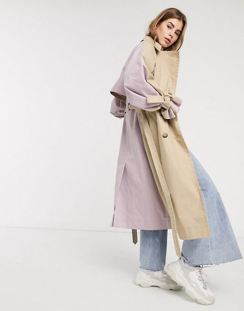 Clothing, Coat, Overcoat, Outerwear, Trench coat, Duster, Fashion, Beige, Neck, Fashion model,