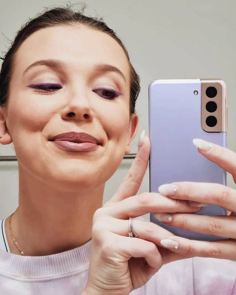 millie bobby brown french tip manicure