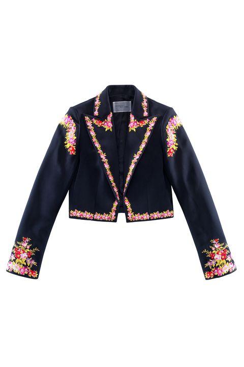 Clothing, Outerwear, Jacket, Sleeve, Blazer, Yellow, Collar, Top, Textile, Bolero jacket,