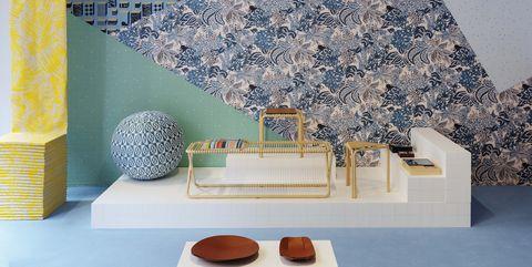 Tile, Blue, Wall, Wallpaper, Interior design, Room, Mosaic, Floor, Table, Design,