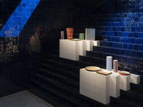 Light, Architecture, Tile, Wall, Room, Design, Space, Flooring, Interior design, Art,